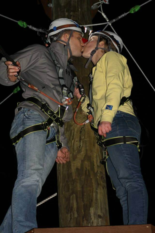 valentines couple kissing at wild blue ropes