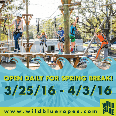 Wild Blue Ropes is open for Spring Break 2016