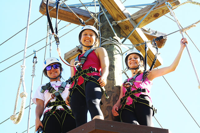 Three women at Wild Blue Ropes