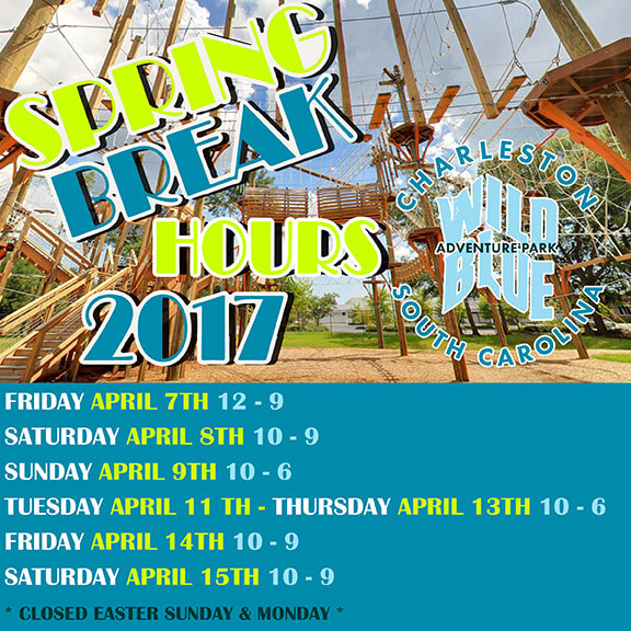 Wild Blue Ropes Spring Break Hours 2017