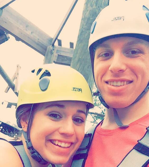 Couple night climbing at Wild Blue Ropes